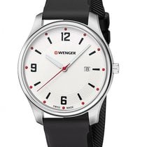 Wenger Mens City Active - Stainless Steel - Black Strap -...