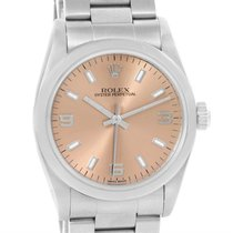 Rolex Midsize Oyster Perpetual Salmon Dial Steel Watch 77080