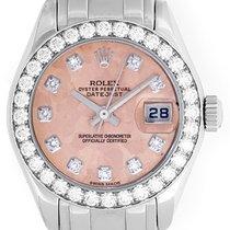 Rolex 18k White Gold Crystal Diamond Pearlmaster Ladies Watch...