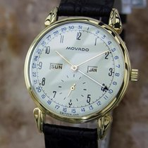 Movado Rare 14k Gold Triple Calendar Manual 1950s 35mm Swiss...