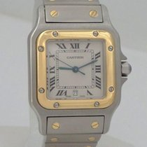 Cartier Santos 18k Yellow Gold Stainless Steel Square Dial...