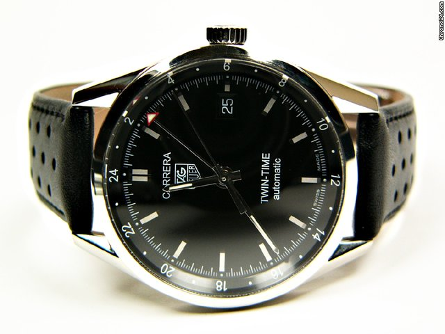 TAG Heuer Carrera Twin-Time automatic stainless steel and leather Mod. WV2115