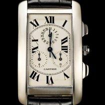 Cartier 18k White Gold Tank Americaine Chronoflex Gents W2603356