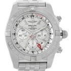 Breitling Chronomat Gmt Silver Dial Steel Mens Watch Ab0410