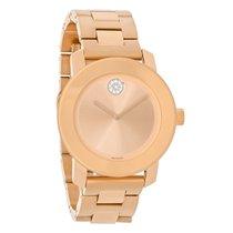 Movado Bold Ladies Crystal Rose Gold Tone Bracelet Swiss Watch...