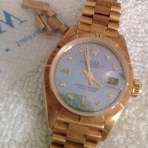 Rolex 18k Gold Womens President 69278 Pearl Diamond Dial Bark...