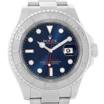 Rolex Yachtmaster Steel Platinum Blue Dial Mens Watch 116622