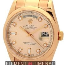 Rolex Day-Date 18k Rose Gold Pink Diamond Dial Ref. 118205