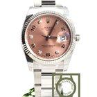 Rolex 34mm 5 diamond pink dial white gold bezel NEW