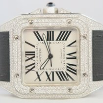 Cartier Santos 100 XL, Aftermarket Diamond Set (Extra Leather...