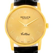 Rolex Cellini Classic 18k Yellow Gold Brown Strap Watch 5116