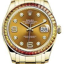 Rolex Pearlmaster 39 86348SAJOR Cognac Diamond Set with...