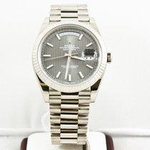 Rolex 40mm  18k White Gold DayDate Watch Rhodium Motif Dial