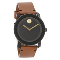 Movado Bold Series Mens Brown Leather Strap Swiss Quartz Watch...