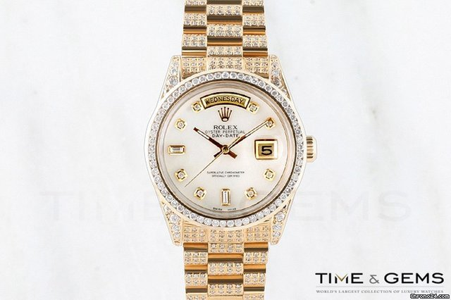 Rolex Mother of Pearl Diamond Dial Channel Set Bezel Full Pave Day Date Super President