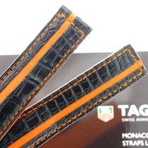 TAG Heuer Cinturino Monaco coccodrillo nero/arancio edizione 40