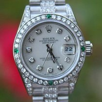 Rolex Ladies 18k White Gold President Diamond Band Diamond...