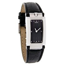 Movado Elliptica Ladies Black Leather Watch 0604704