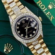 Rolex Presidential Day Date Glossy Black Dial Diamond Watch 18...