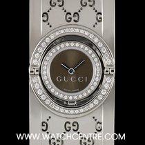 Gucci S/Steel Brown Dial Diamond Set Twirl Bangle Watch 112