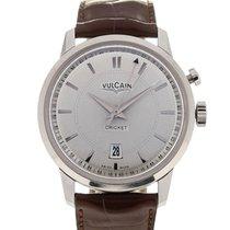Vulcain 50s Presidents' Watch 42 Silver Guilloche Chestnut...