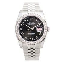Rolex Datejust Stainless Steel With Diamonds Black Automatic...