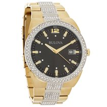 Bulova Quartz Mens Black Dial Crystal Two Tone Bracelet Watch...