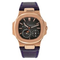Patek Philippe Nautilus Moon Phase Rose Gold Watch Leather Strap