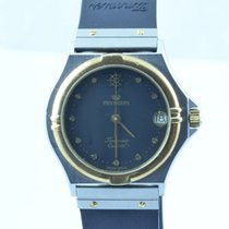 Pryngeps Damen Uhr Stahl/gold Kautschuk Armband Bracelet Rar