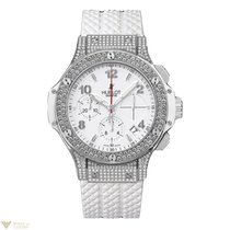 Hublot Big Bang Steel White Rubber Diamonds Ladies Watch
