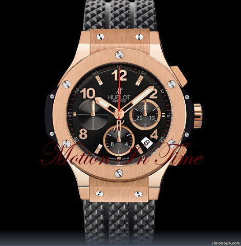 Hublot BIG BANG ROSE GOLD w/ R/G BEZEL ON BLACK RUBBER STRAP