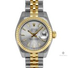 Rolex Datejust Steel and Gold Silver Stick Dial Fluted Bezel...
