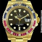 Rolex Gmt II 116748 Saru 18k Sapphires Rubies Diamonds Box Papers