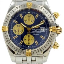 Breitling Chronomat Evolution B13356 Blue Two-Tone Yellow Gold...
