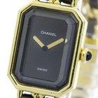 Chanel Premiere Size Xl Gold Plated Leather Quartz Ladies...