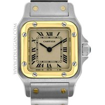 Cartier stainless steel and 18k yellow gold ladies Santos Galbee