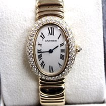 Cartier 1954 Ladies Baignoire 18K Yellow Gold Diamond Bezel