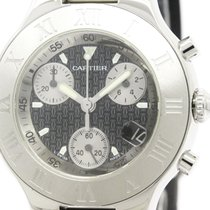 Cartier Polished Cartier Must 21 Chronoscaph Steel Rubber Mens...