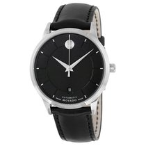 Movado 1881 Automatic Black Dial Black Leather Mens Watch 0606873