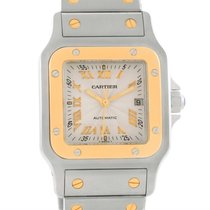 Cartier Santos Galbee Steel Yellow Gold Guilloche Dial Watch...