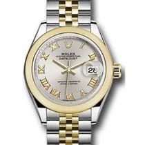 Rolex Datejust 28 279163 Silver Roman Domed Bezel Yellow Gold...