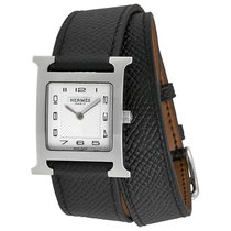 Hermès H Hour White Dial Black Leather Ladies Watch
