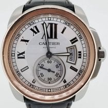 Cartier CALIBRE ROSE GOLD STEEL TWO TONE LEATHER BRACLET
