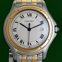 Cartier Cougar 33mm Panthere Date 18k Yellow Gold Steel