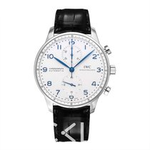 IWC Portugieser Chronograph White Steel/Leather 40.9mm - IW37144