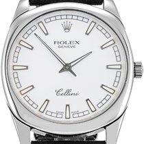 Rolex Cellini 4243-9 White Index White Gold Black Leather...