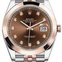 Rolex Datejust 41 126301 Chocolate Diamond Rose Gold Stainless...