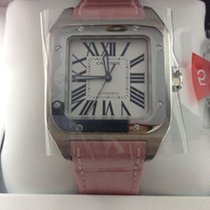 Cartier W20126X8 Santos 100 Automatic Pink Strap Medium Size New