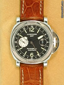 Panerai Gent&amp;#39;s Stainless Steel  44mm Luminor GMT PAM 88 Strapwatch