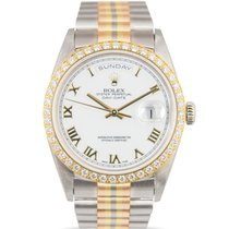 Rolex 18k Day-Date with Tridor White Dial Diamond Bezel,...